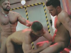 Macho boys have a naughty threesome where they suck and fuck each other