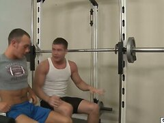Dude tries to work out with his gay buddy in a gym