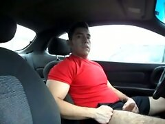 Hairy Latino bud jacks off in his car