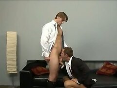 Couple Fucking After Work in Black OTC and Argyle Socks