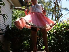 Sissy Ray being a gay faggot in pink sissy dress