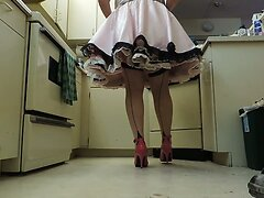 Sissy Ray in Pink Satin Sissy Dress Kitchen Upskirt