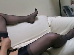 Navy RHT stockings, lacy pantys, heels, and cum