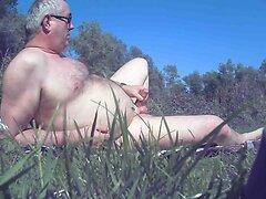 I am masturbating outside with precum