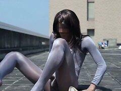 Pantyhose encasement & jerking on rooftop 3(shiny!!)