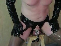 Chastity belt hands free prostate orgasm in gasmask