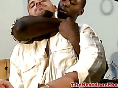 Black gay hunks spitroast white jock