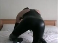 lick own cum - pvc thigh high boots and latex hood