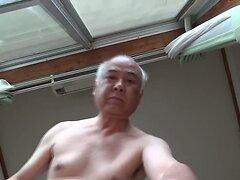 Japanese old man masturbation erect penis semen flows  scene 2