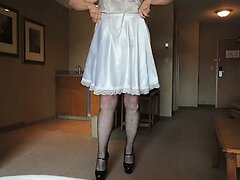 Sissy Ray Slow Strip in white sissy dress