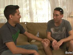 Handsome gays fucking on the couch