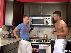 Horny gays fucking on the kitchen floor