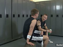 Horny jocks fuck in the locker room