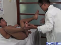 Twink asian doctor gets dicksucked by grateful patient