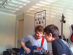 Sexy hunk plays guitar and strips- then mum walks in!!