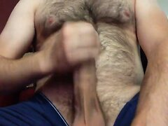 Str8 the hairy daddy cumming in his blue shorts