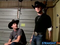 Amateur cowboys Ty and Lee wanking their cocks in the garage