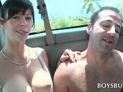 Busty slut gives boner to sex bus amateur guy