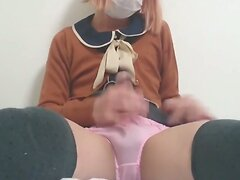 Crossdresser handjob perfect cum