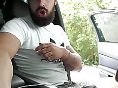 Bearded Tattooed Hunk Jerk Off and Cum in Car