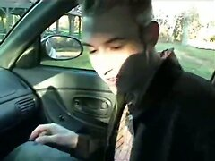 Twink blows me in my car and I give him a facial