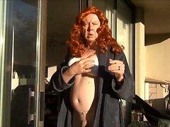 Naughty Gigi in pantyhose smoking