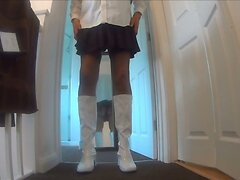 Boots Stockings  Suspenders Pleated Skort  scene 2