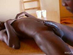 Ebony Bareback Threesome  scene 2