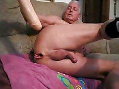 Dildo ride-grandpa really enjoy big dildo