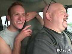 Naked horny guy banging gay butt hole in the sex bus  scene 2