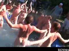 College fraternity hazing freshers by the pool