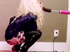 Bimbo sissy throat training big black dildo machine