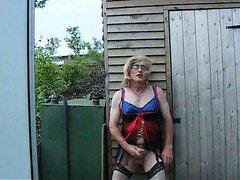 outside in lingerie