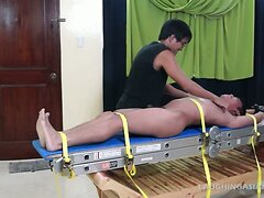 Gay Asian Twink Lorenzo Tied Down and Tickled