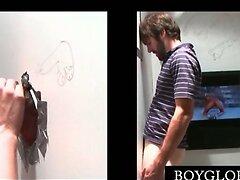 Beardy straight guy enjoys gay BJ on gloryhole  scene 2