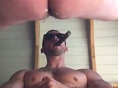 bareback sling fuck by muscle daddy