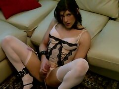 Crossdresser sucks her masters cock