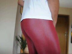 Cum over my new shiny Leggings