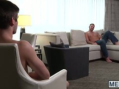 Two horny studs Jonny and Josh having hard anal sex on a bed