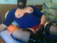 cp27 p7 my breasts in red and blue stroking clamps wanking