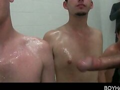 Boys college hazing with BJs in the shower