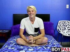 Blond beautiful twink Brayden Cockner wanks and cums solo