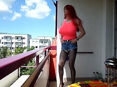 sandralein33 Redhead with Monster Tits smoking  Outdoor