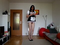 sandralein33 smocking and dancing in Housemaid Outfit