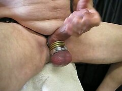 A little pleasure bating with cock and ball rings.