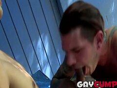 Gorgeous amateur studs Damien and Tristan having oral sex