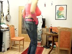 sandralein33 with Monster tit dancing in Fuck Jeans