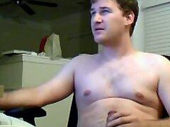 Fatty dude jerking off