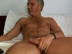 Hunk daddy cumming playing with ass