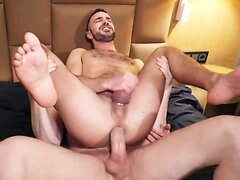 Stud fills his hole with big white cock.